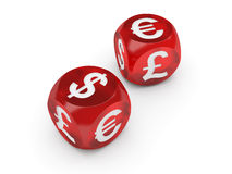Valuta che gioca - serie dei dadi di valuta Illustrazione di Stock