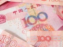 Valuta cinese delle banconote di yuan Fotografie Stock Libere da Diritti