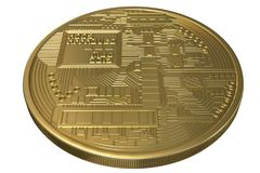 Valuta cripto dell'oro di moneta di Bitcoin fotografia stock libera da diritti