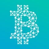 Valuta cripto di Bitcoin, segno di vettore con una rete Fotografie Stock