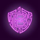 Valuta cripto di valuta digitale di Bitcoin Il concetto di sicurezza della valuta cripto Logo al neon di stile Immagini Stock