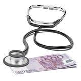 Valuta dell'euro e dello stetoscopio Fotografia Stock