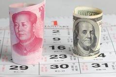 Valuta della Cina Stati Uniti Fotografie Stock Libere da Diritti