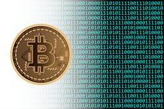 Valuta di Bitcoin con fondo binario Fotografie Stock Libere da Diritti