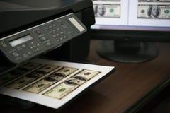 Valuta di carta falsa di USD di stampa immagini stock libere da diritti