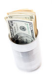 Valuta di carta nel barattolo di latta Fotografia Stock