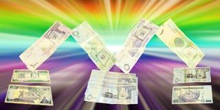 Valuta di carta saudita nella forma di lettera m. Fotografia Stock Libera da Diritti