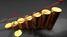 Valuta di Ethereum, moneta cyber e digitale, pila di monete dorate con un grafico d'innalzamento rosso illustrazione di stock