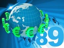 Valuta di Euros Represents Foreign Exchange And dei forex Immagini Stock Libere da Diritti