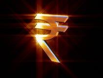 Valuta di simbolo della rupia indiana Fotografia Stock
