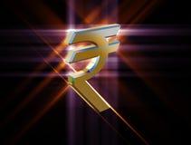Valuta di simbolo della rupia indiana Fotografia Stock Libera da Diritti