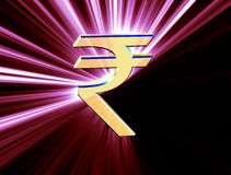 Valuta di simbolo della rupia indiana Immagini Stock Libere da Diritti