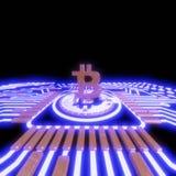 Valuta digitale del bitcoin dorato, soldi digitali futuristici, concetto mondiale della rete di tecnologia Immagini Stock