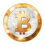 Valuta digitale di Bitcoin, medaglia di argento dell'oro, immagine dell'illustrazione Fotografia Stock Libera da Diritti
