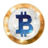 Valuta digitale di Bitcoin, medaglia blu dell'oro, immagine dell'illustrazione Fotografia Stock Libera da Diritti