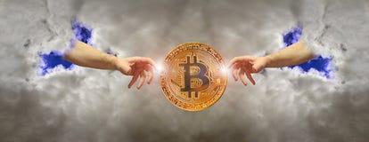 Valuta digitale di inizio di cryptocurrency di Bitcoin fotografie stock