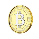 Valuta digitale dorata di Bitcoin Fotografia Stock Libera da Diritti