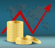 Valuta digitale dorata di Bitcoin Lle pile di dieci monete su blu scuro con la mappa di mondo e la freccia rossa Estrazione miner Fotografia Stock
