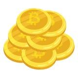 Valuta digitale dorata di Bitcoin Una pila di bitcoin delle monete Pila dell'oro di monete di cryptocurrency dei bitcoins mining  Immagini Stock Libere da Diritti