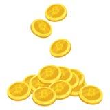Valuta digitale dorata di Bitcoin Una pila di bitcoin delle monete Pila dell'oro di monete di cryptocurrency dei bitcoins mining  Fotografie Stock Libere da Diritti