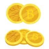 Valuta digitale dorata di Bitcoin Una pila di bitcoin delle monete Pila dell'oro di monete di cryptocurrency dei bitcoins mining  Fotografia Stock