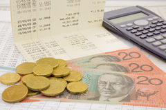 Valuta e biglietto dell'Australia Fotografia Stock