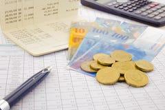 Valuta e biglietto della Svizzera Fotografia Stock