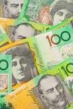 valuta för 100 australiensisk bakgrundssedlar Royaltyfri Bild