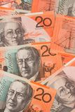 valuta för 20 australiensisk bakgrundssedlar Fotografering för Bildbyråer
