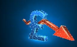 Valuta för brittiskt pund, röd pil för Downtrend, digitalt som är blå, illustration för neon 3d Polygonal vektoraffärskris vektor illustrationer