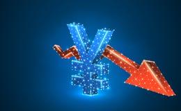 Valuta för japansk yen, röd pil för Downtrend, digitalt som är blå, illustration för neon 3d Polygonal vektoraffärskris royaltyfri illustrationer