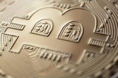 Valuta för mynt för Bitcoin closeupmonet faktisk arkivbild