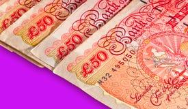 valuta femtio pund ett pund sterling uk Royaltyfria Foton