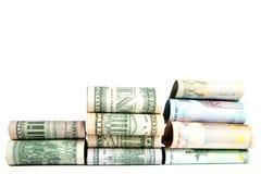 , valuta, fondo bianco fotografie stock