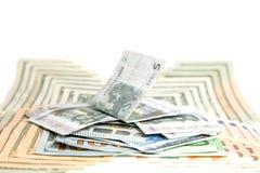 , valuta, fondo bianco immagini stock