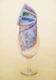 Valuta indiana in bicchiere di vino Fotografia Stock Libera da Diritti