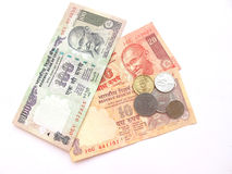 Valuta-Note e monete indiane Immagini Stock
