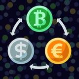 Valuta- och cryptocurrencyutbytet sänker symbols— bitcoin, euro Arkivbilder