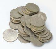 Valuta saudita delle monete Fotografia Stock