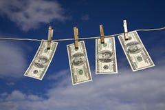 Valuta su un clothesline Fotografia Stock Libera da Diritti