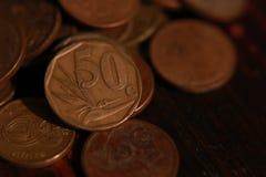Valuta sudafricana della moneta fotografie stock