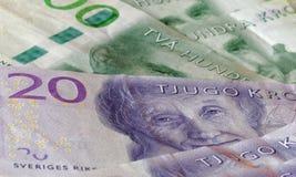 Valuta svedese, 20 corone svedesi e 200 corone svedesi, nuova disposizione 2015 Fotografia Stock Libera da Diritti