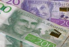 Valuta svedese, 20 corone svedesi e 200 corone svedesi, nuova disposizione 2015 Immagini Stock Libere da Diritti