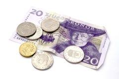 Valuta svedese e monete Fotografie Stock Libere da Diritti