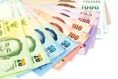 Valuta tailandese dei soldi isolata su fondo bianco Fotografia Stock