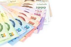 Valuta tailandese dei soldi isolata su fondo bianco Immagine Stock