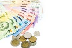 Valuta tailandese dei soldi isolata su fondo bianco Immagini Stock