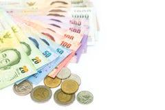 Valuta tailandese dei soldi isolata su fondo bianco Fotografie Stock Libere da Diritti