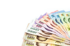 Valuta tailandese dei soldi isolata su fondo bianco Fotografia Stock Libera da Diritti
