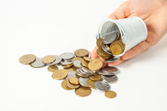 Valuta Ucraina dei contanti del pezzo della moneta dei soldi Fotografia Stock Libera da Diritti